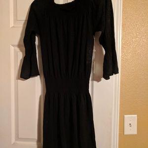 Black Margaret OLeary off the shoulder dress.